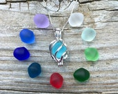 Colorful Sea Glass Set Sterling Silver Swirling Seas  Locket by Wave of LIfe