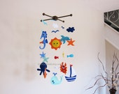 Customize Baby Mobile - Large Sea Animals Theme Nursery Crib Mobile - Under the Sea Baby Nursery Mobile (Choose your color)
