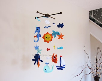 Ready To Ship Baby Mobile - Large Sea Animals Theme Nursery Crib Mobile
