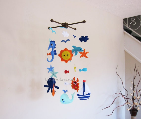 Items similar to customize baby mobile large sea animals for Sea animal baby mobile