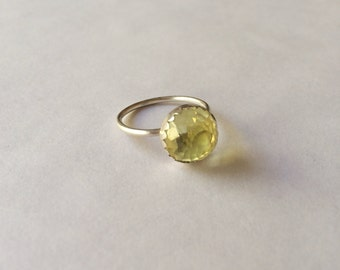 10mm Lemon Quartz Ring in Sterling Silver