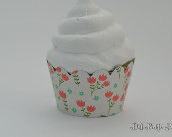 Pink Green and Blue Floral Flower & green polka dot print reversable Cupcake Wraps - Set of 24 - Standard Size