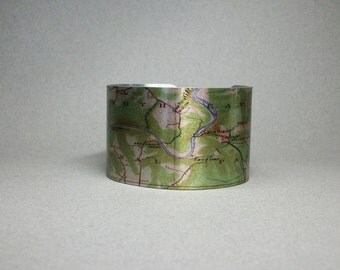 Mammoth Cave National Park Kentucky Cuff Bracelet Vintage Map Unique Hiking Gift for Men or Women