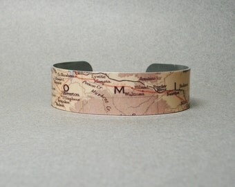 Wyoming Cuff Bracelet Vintage Map Unique Gift for Him or Her