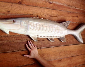 Sturgeon 5ft. chainsaw wooden fish carving rustic home decor centerpiece wall mount fishing retreat art indoor outdoor decoration