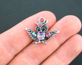 2 Owl Charms Antique Silver Tone with 16 Inset Rhinestones in Assorted Colors - SC4740