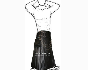 Interchangeable Black Leather Long Utility Kilt Gothic Design Adjustable Custom Fit with Large Expanding Cargo Pockets