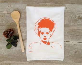 Halloween Tea Towel - Bride of Frankenstein Flour Sack Kitchen Dish Cloth Horror Movie Monster Home Decor Kitsch Rockabilly