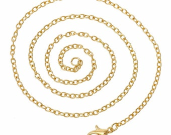 1 pc Gold 18 inch Cable Chain Necklace 3x2mm links ( use with our lockets and settings)  jewelry findings 833x