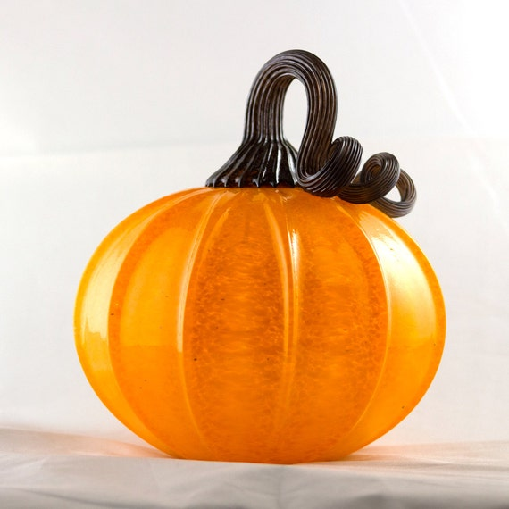 Glowing Blown Glass Pumpkin (Medium- large with hole for LED light )