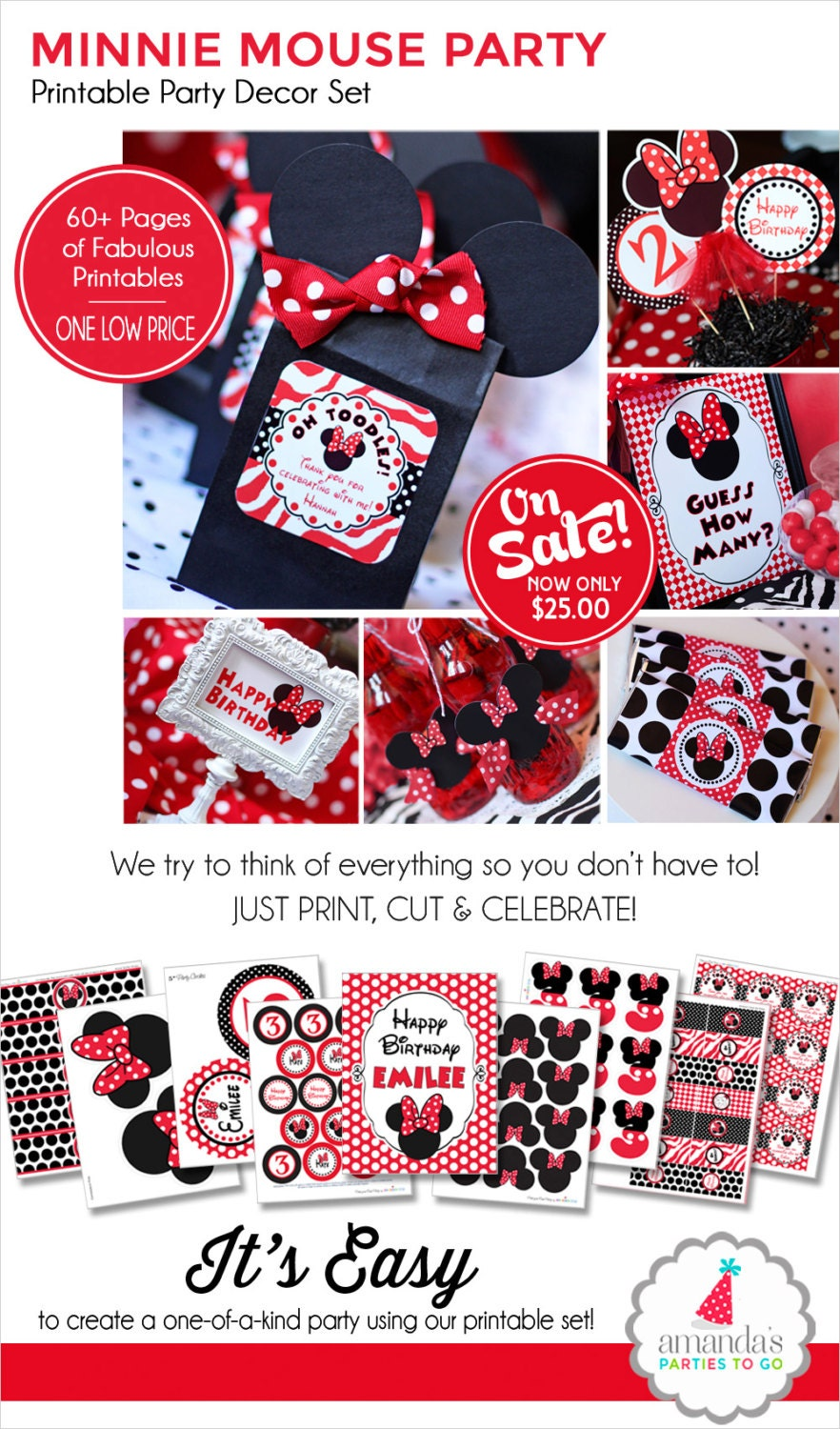 Minnie Mouse Birthday Decorations Red by AmandasPartiesToGo