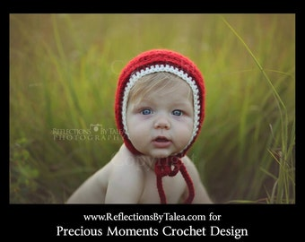 Christmas Bonnet, Newborn Christmas Hat, Red Bonnet, Baby Christmas Hat, Holidays Hat, Crochet Bonnet, Burgundy Bonnet, Newborn Photo Prop
