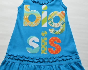 Size 3 Runs Small 2T 3T Teal Big Sis Dress, Big Sister Tunic, Ready to Ship, Teal Blue Green Orange, Tank Top, Sibling Dress Toddler