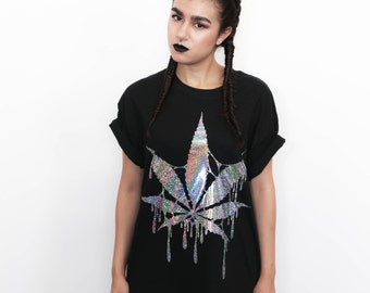 Cool HOLOGRAM Marijuana Leaf T-Shirt