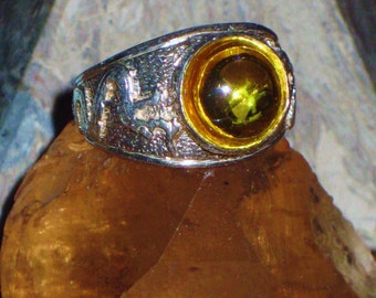 Viking Favor of the Midgard Serpent - Cabochon Citrine Antique Sterling Silver Ring - Success, Joy, Psychic Power, Ancient Magic, Ancestors