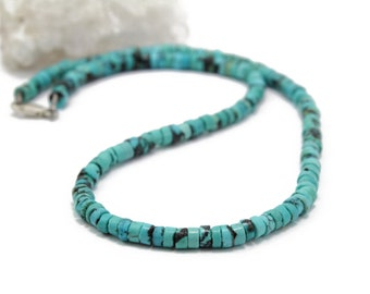 """Genuine Turquoise Rondelle Necklace Delicate Necklace 16"""" Long"""