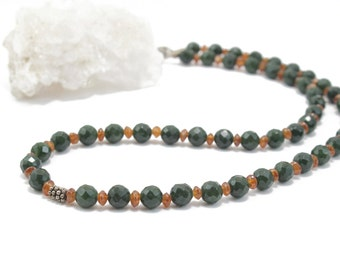 """Green Agate and Carnelian Necklace 16"""""""