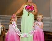 Here Comes The Bride Wedding Banner or Photo Prop / Customize To Your Wedding Colors / Flower Girl / Ring Bearer