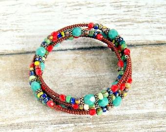 rustic rainbow memory wire bracelet, bohemian, colorful, hippie