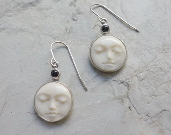 Carved Face Earrings, bohemian earrings, Silver Earrings, Bone Earrings, Sleeping Face Earrings, boho Earrings, Dangle Earrings - FUEG161X