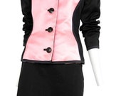 RESERVED VINTAGE YSL ensemble  - pink satin panel jacket- 1980s- vogue