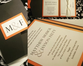 Modern Linen Grey and Orange Tri Fold Wedding Invitation