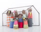 12th scale Miniature - Handmade Family Dolls for Dollhouse,Grandparents, parents & children, Modern African Family in Retro Pastel colors