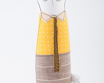 Soft sculpture doll -Hipster teenager boy doll, in Eyeglasses Yellow dotted shirt, olive tie & linen beige striped pants -timohandmade doll