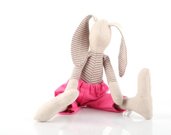 Modern Linen stuffed bunny toy , Beige rabbit doll ,Wearing gray striped shirt & pink pants - timo handmade doll ,eco gift for boy or girl