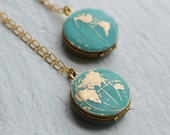 World Map Locket... Vintage Brass Globe Traveller