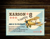 Airplane Birthday Invitation for any age 1st 2nd 3rd 4th 5th 6th 7th 8th 9th 10th  kids birthday invitation Vintage Retro Rustic - card 833