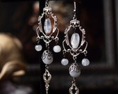 Moonlight Ball Silver Moonstone Chandelier Earrings