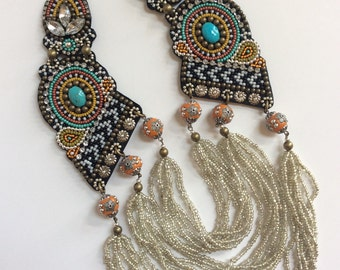 Bead Embroidery Necklace, Statement Necklace