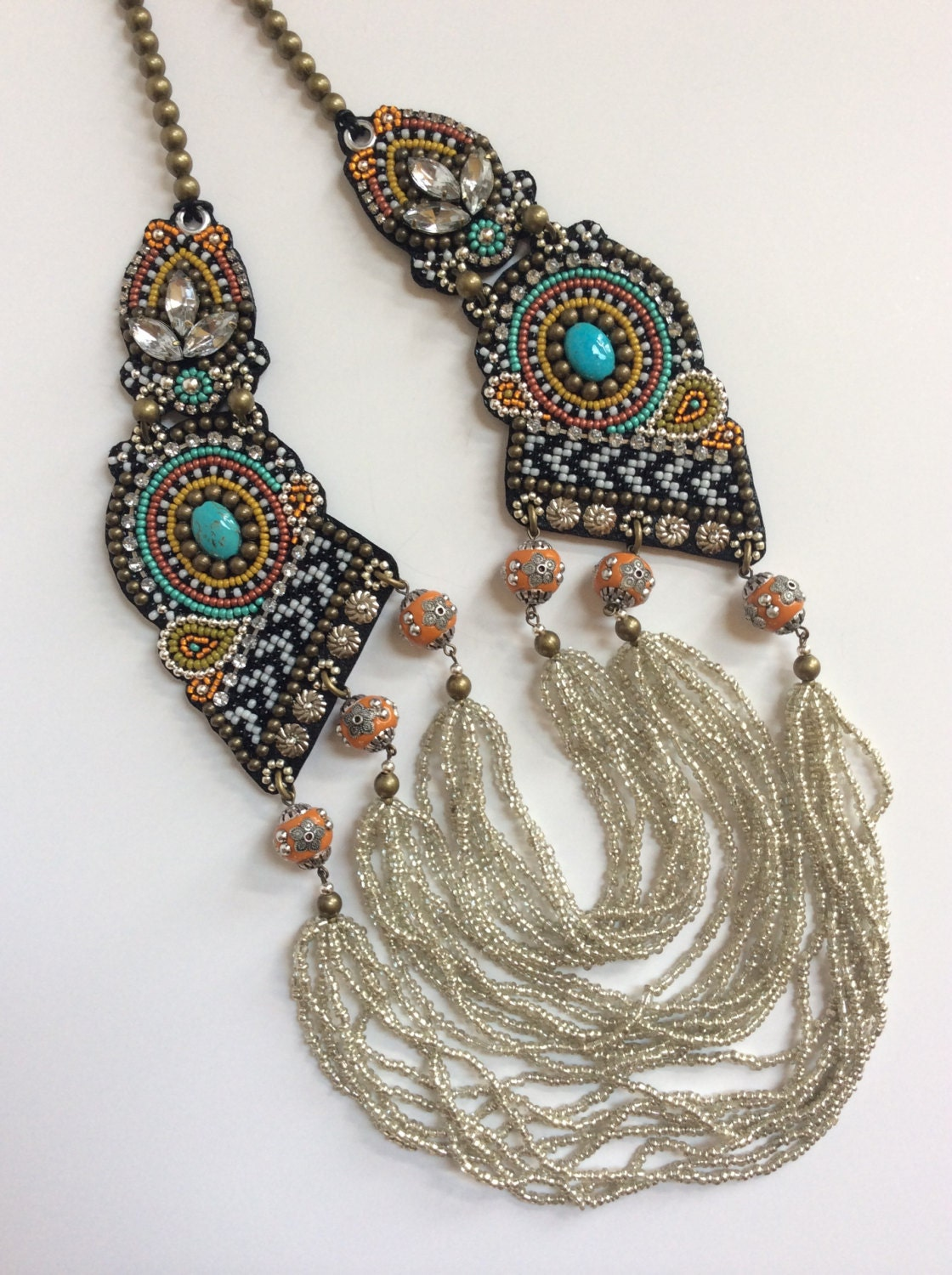 Bead embroidery necklace statement