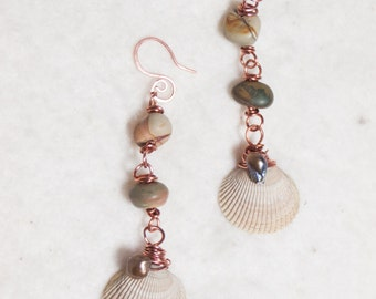 Scallop Shell Copper Earrings with Picasso Jasper- Copper Sea - Boho Chic Art Jewelry by Ardent Life