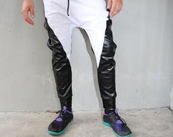 Awesome Womens Black Tracksuit / Womens Harem Pants / Crop Top Hoodie