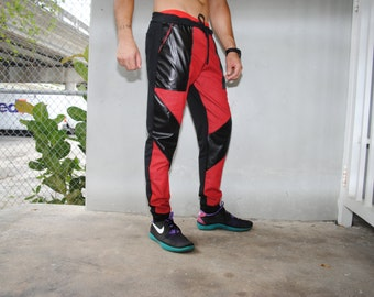 Red Denim Jogger Pants / Mens Joggers / Perforated Leather External Pockets / Back Pocket / Handmade by GAG THREADS