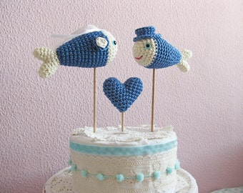 Blue Crochet Fish Wedding Cake Topper, Nautical Beach Blue Wedding Decor