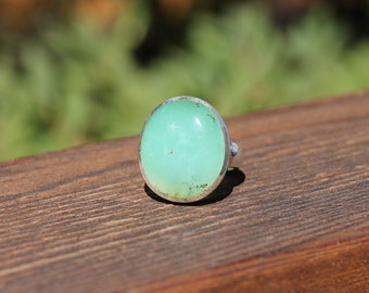 Alluring Chrysoprase Rings - US Size 8.5 - Solid Sterling Silver - Chrysoprase Jewelry - Metaphysical