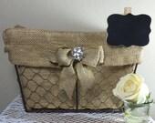Rustic wedding card basket, Shabby Chic card or program basket, Burlap wire basket, Rustic wedding, Country wedding, Wedding decor, Wedding