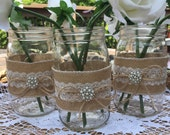 10 Burlap and Lace Mason Jars Quart Wraps, Wedding Centerpiece, Rustic wedding, Wedding decor, Burlap wedding, Mason jar sleeves, Mason jar