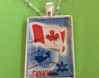 Canada Flag Stamp Necklace