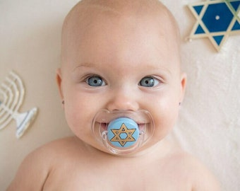 Star of David Hand Painted Pacifier by PiquantDesigns