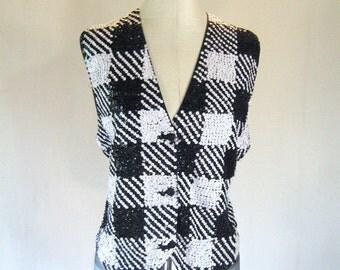 Black & White Checkered Sequin Vest Top