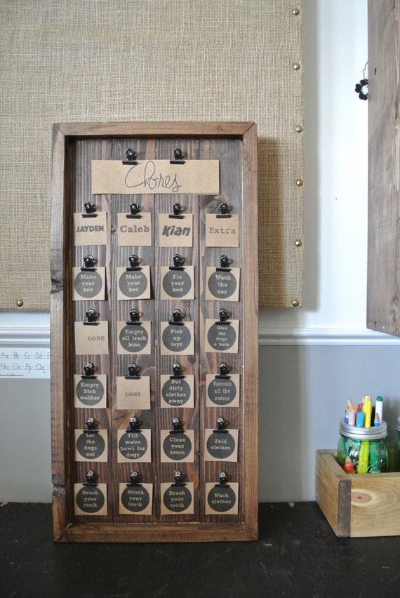 Kid's Chore Chart, Wooden Chore Chart, Rustic Chore Chart, Personalized Chore Chart, Chore Activity Board, Chore Chart Board, Wooden Display