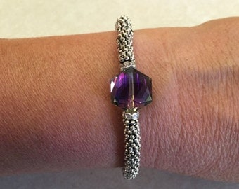 Purple Crystal - Lagos inspired Bangle Bracelet/Bangle/Purple Crystal and Bali Silver/Stacking Bracelet