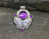 Amethyst Butterfly Pendant, Bright Grape Purple, Rose Cut Amethyst, Sterling Silver, February Birthstone, Purple Gemstone, Made in NH