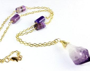 Raw Amethyst Pendant, Raw Stone Jewelry, Purple Agate, Amethyst Pendant, February Birthstone Jewelry, Amethyst Birthstone Jewelry
