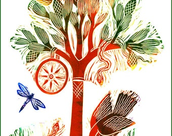 Huluppu, Tree of Creation,  Hand made Blank Card, Archival Reproduction of an original linocut.