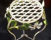 Fancy Vintage iron accent table with beaded white flowers - Patio, Garden - Chippy cottage shabby chic - Perfect accessory  AS IS or repaint